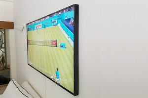 tv mounted to wall
